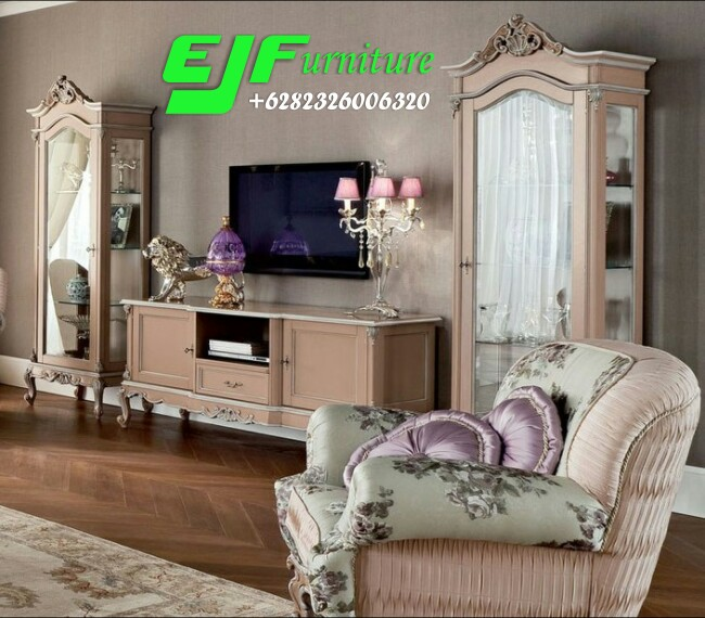 Set-Bufet-Tv-Ukir-Italian-Terbaru- Set Bufet Tv ukir  Terbaru Set-Bufet-Tv-Ukir-Italian-Terbaru-