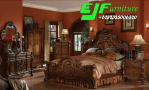 Jual Satu Set Tempat Tidur Ukir Jati classic Joviita