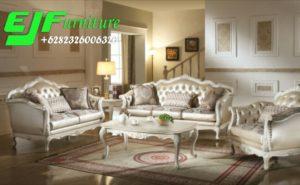 Kursi Sofa Tamu Jesica Duco putih ukir