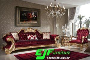 Sofa Tamu Royal Klasik Ukir Italia Gold
