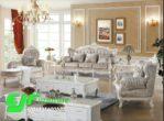 Sofa Tamu Ukir Eropa Duco Putih Camelia