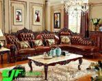 Kursi Sofa Tamu Sudut Ukir Mewah Kayu  Jati Terbaru Jepara