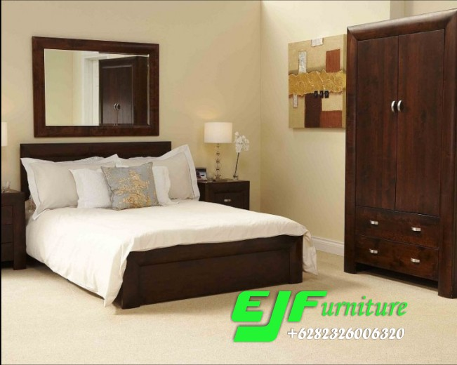Set Tempat Tidur Minimalis Mewah Kayu Jati 044 Edy