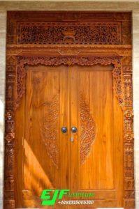 Pintu Gebyok Jati Ukir Minimalis Modern 003