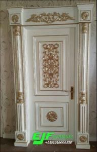 Pintu Rumah Ukir Duco Putih Emas Mewah 009