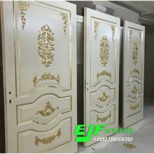 Pintu Rumah Ukir Duco putih emas Modern 016