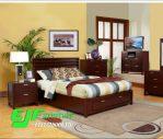 Set Tempat Tidur Minimalis Modern Laci Jati 52