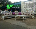 Sofa Tamu Sudut Ukir Mewah Duco Putih emas 280