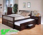 Tempat Tidur Minimalis Tingkat Jati Mewah 056