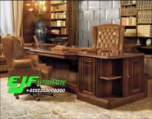 Meja Kantor Minimalis Jati Klasik Model Terbaru 17
