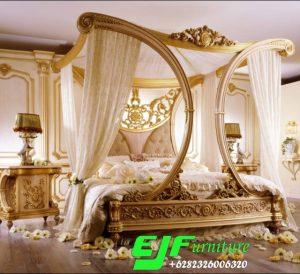 Tempat Tidur Ukir Kanopi Duco Emas Terbaru 083