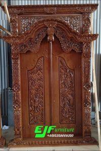 Pintu Gebyok Ukir Ramayana Jati Ukuran 150 cm