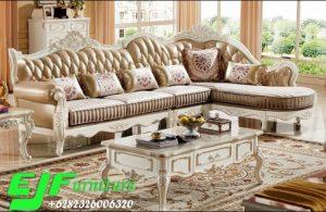 Sofa Sudut Ukir Jepara Terbaru Cat Putih 320
